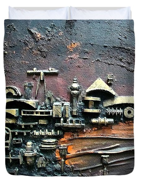 Industrial Port-part 1 By Rafi Talby Duvet Cover by Rafi Talby