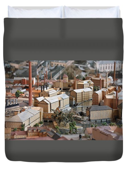 Industrial Town Miniature Model Duvet Cover