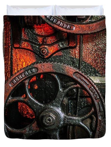 Industrial Wheels Duvet Cover by Carlos Caetano