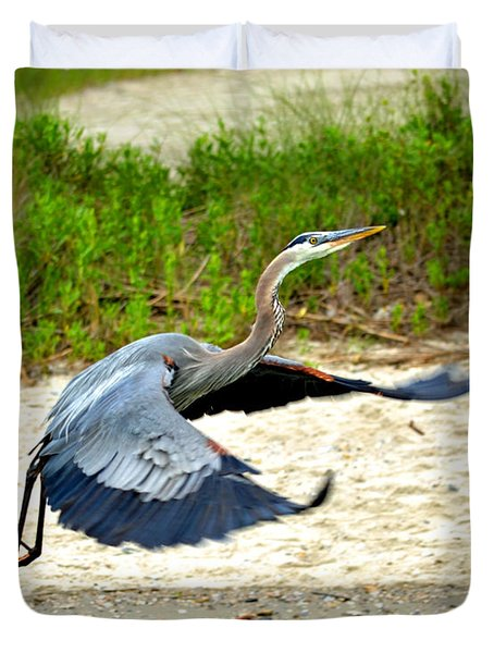 Inflight Great Blue Heron Duvet Cover by Sandi OReilly