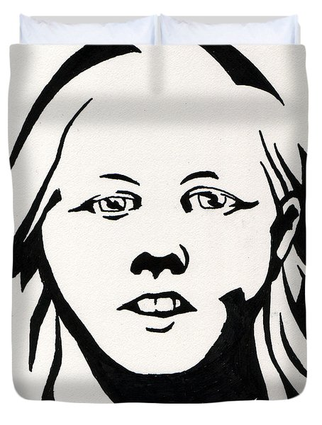Ink Portrait Duvet Cover