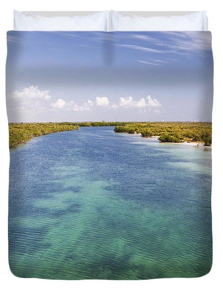 Inlet Leading To Caribbean Ocean Duvet Cover