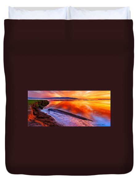 Duvet Cover featuring the painting Inlet Sunset by Bruce Nutting