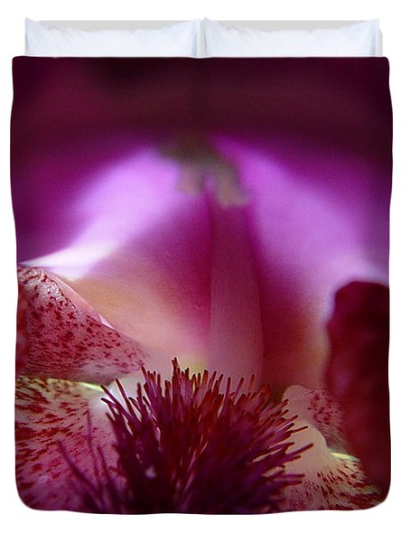 Duvet Cover featuring the photograph Inner Iris_4of4_purple by Jana Russon