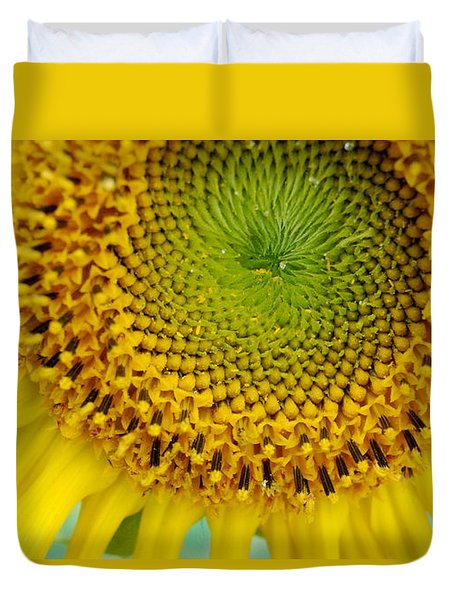 Inner Peace Forms Within This Sweet Yellow Sunflower Duvet Cover by Eunice Miller