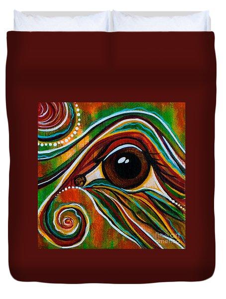 Duvet Cover featuring the painting Inner Strength Spirit Eye by Deborha Kerr