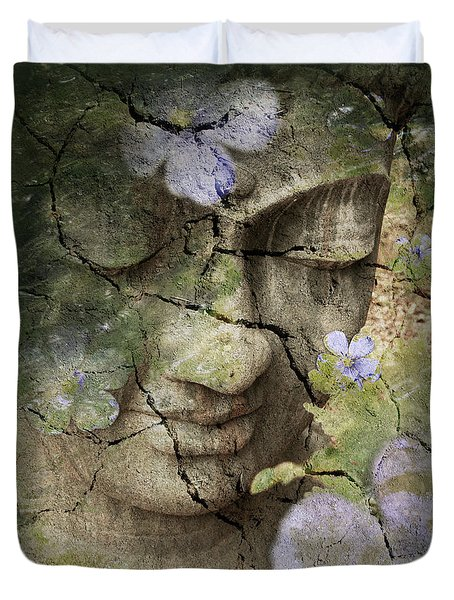 Duvet Cover featuring the mixed media Inner Tranquility by Christopher Beikmann