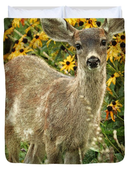 Duvet Cover featuring the photograph Innocent Fawn And Flowers by Peggy Collins