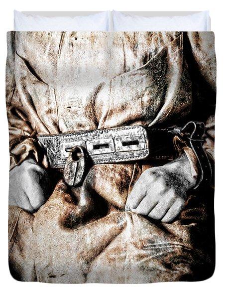 Insane Person In Restraints Duvet Cover by Daniel Hagerman