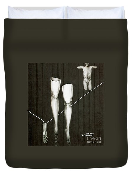 Duvet Cover featuring the painting Insecurity by Fei A