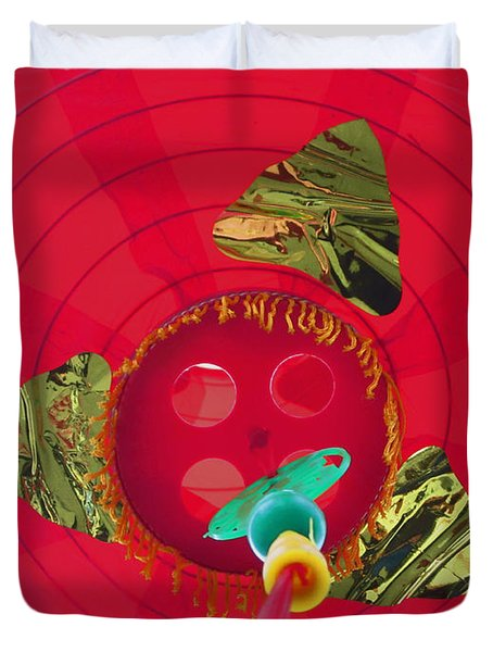 Inside A Red Chinese Lantern Duvet Cover by Kym Backland