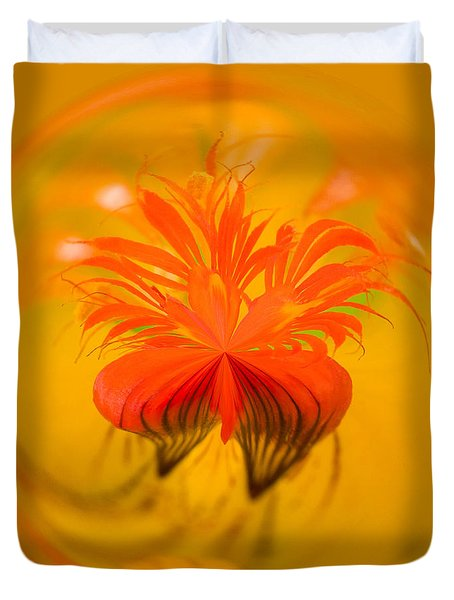 Inside Out Nasturtium Duvet Cover by Anne Gilbert