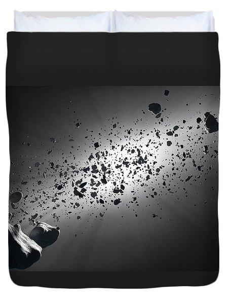 Inside The Asteroid Belt Against The Sun Duvet Cover