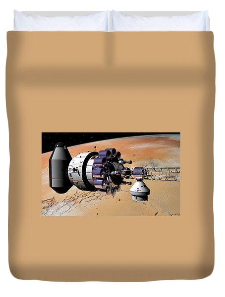 Inspection Over Mars Duvet Cover by David Robinson
