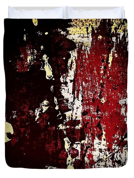 Abstract In Burgundy Duvet Cover
