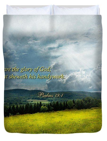 Inspirational - Eternal Hope - Psalms 19-1 Duvet Cover by Mike Savad