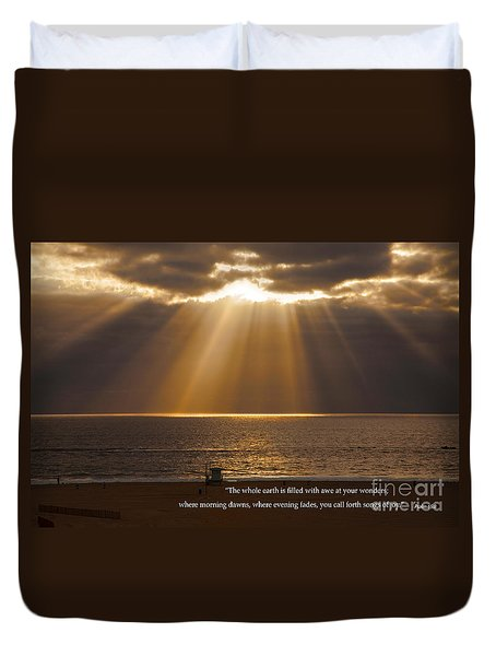 Inspirational Sun Rays Over Calm Ocean Clouds Bible Verse Photograph Duvet Cover by Jerry Cowart