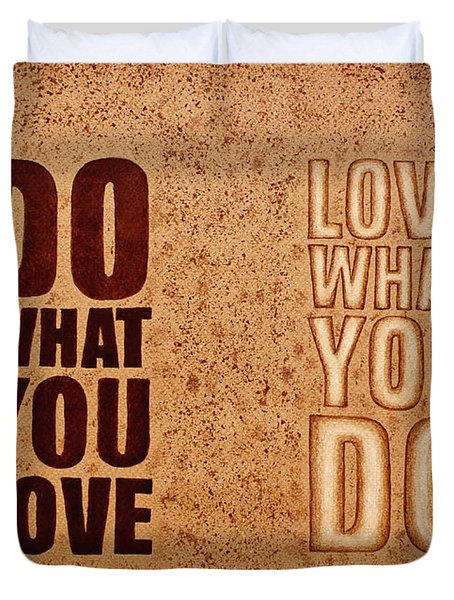 Duvet Cover featuring the painting Inspiring Quote Original Coffee Painting by Georgeta Blanaru