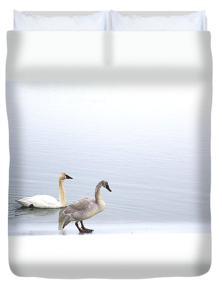 Duvet Cover featuring the photograph Instinct by Kathy Bassett