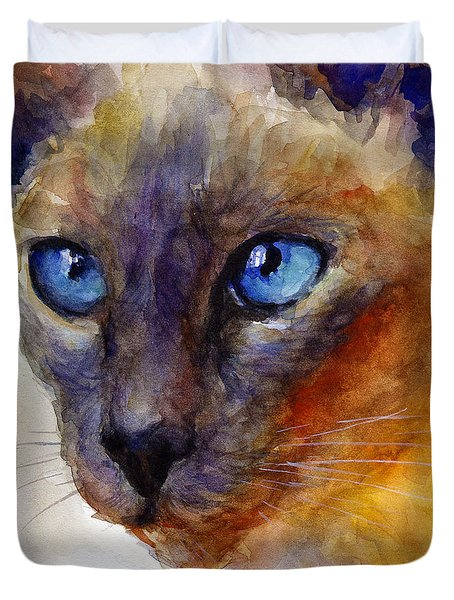 Intense Siamese Cat Painting Print 2 Duvet Cover