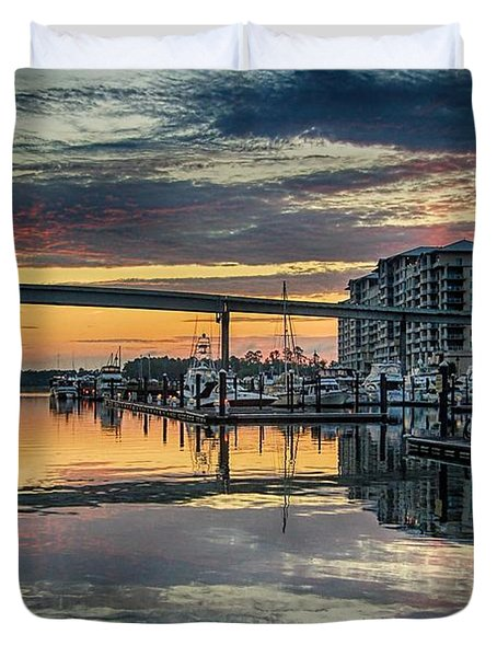 Intercoastal Waterway And The Wharf Duvet Cover by Michael Thomas