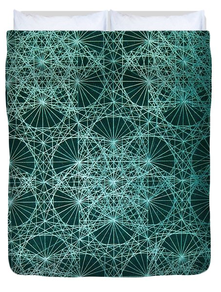 Duvet Cover featuring the drawing Interference by Jason Padgett