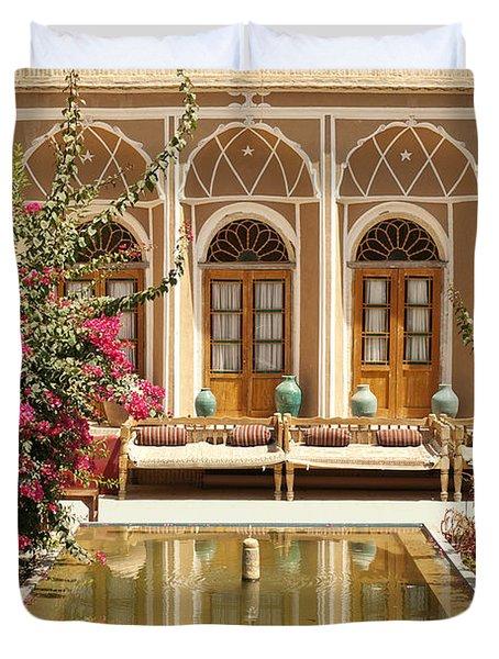 Interior Garden With Pond In Yazd Iran Duvet Cover