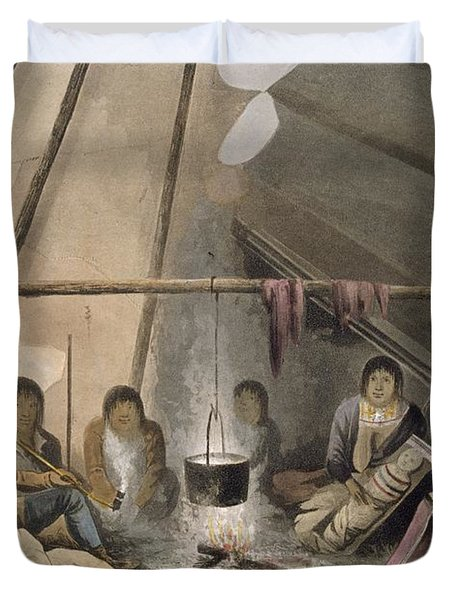 Interior Of A Cree Indian Tent, 1824 Duvet Cover by Lieutenant Hood