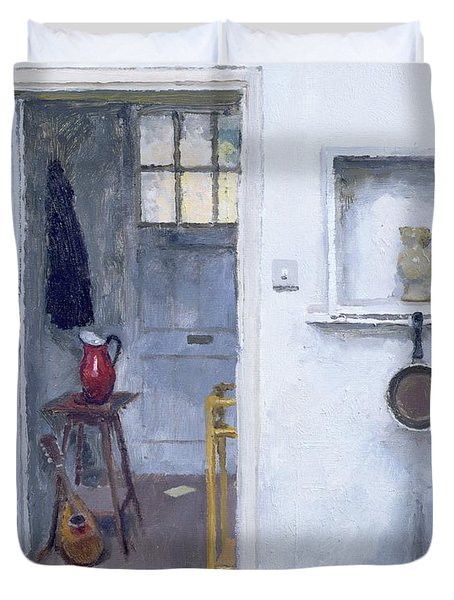 Interior With Red Jug Duvet Cover by Charles E Hardaker