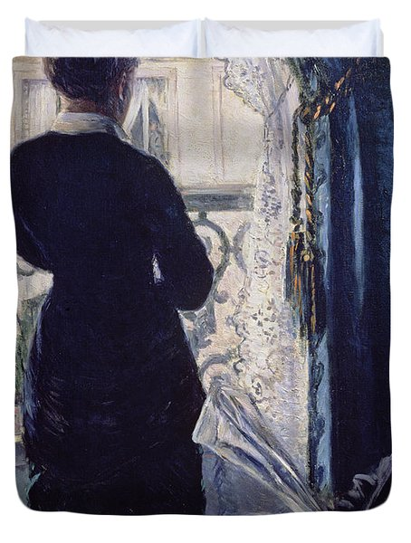 Interior Woman At The Window Duvet Cover by Gustave Caillebotte