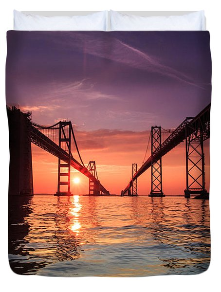 Into Sunrise - Bay Bridge Duvet Cover