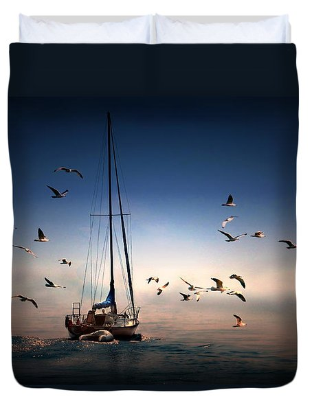 Into The Blue Duvet Cover by Davandra Cribbie