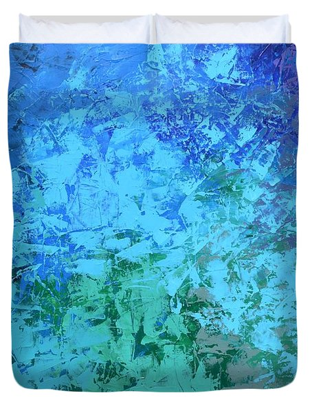 Duvet Cover featuring the painting Into The Deep Blue Sea by Linda Bailey