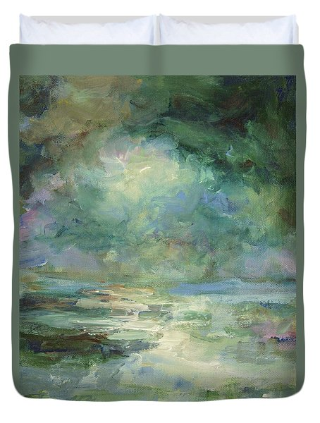 Duvet Cover featuring the painting Into The Light by Mary Wolf