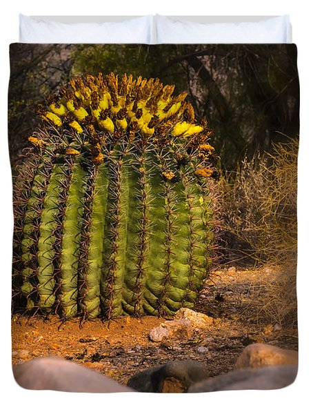 Duvet Cover featuring the photograph Into The Prickly Barrel by Mark Myhaver