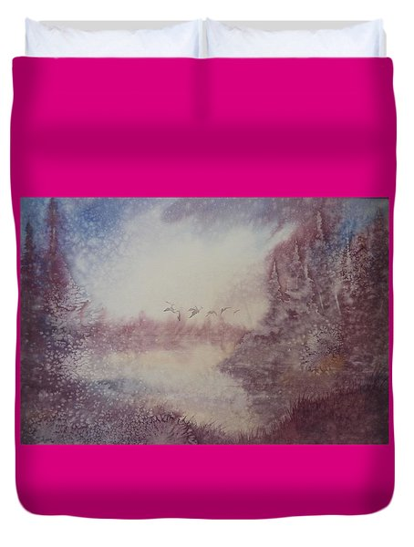 Duvet Cover featuring the painting Into The Storm by Richard Faulkner