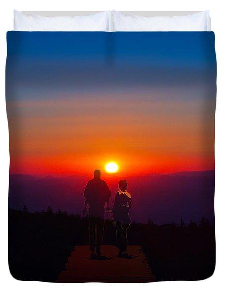 Into The Sunset Together Duvet Cover by John Haldane