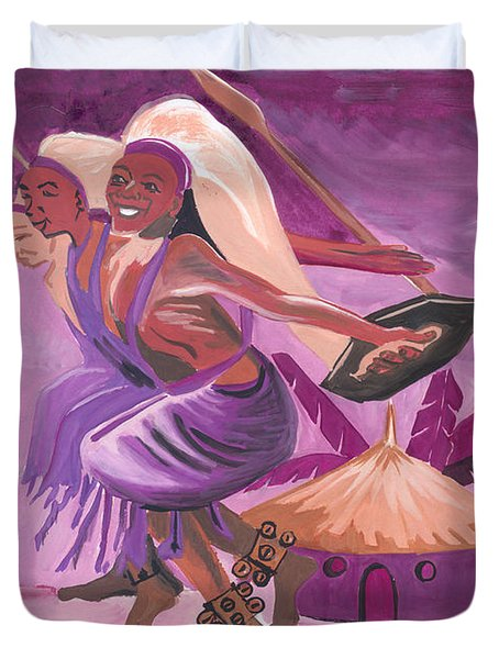 Duvet Cover featuring the painting Intore Dance From Rwanda by Emmanuel Baliyanga