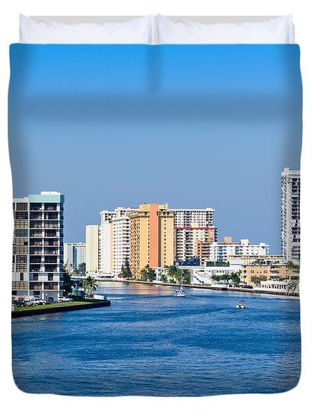 Intracoastal Waterway In Hollywood Florida Duvet Cover
