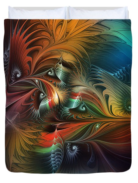 Intricate Life Paths-abstract Art Duvet Cover