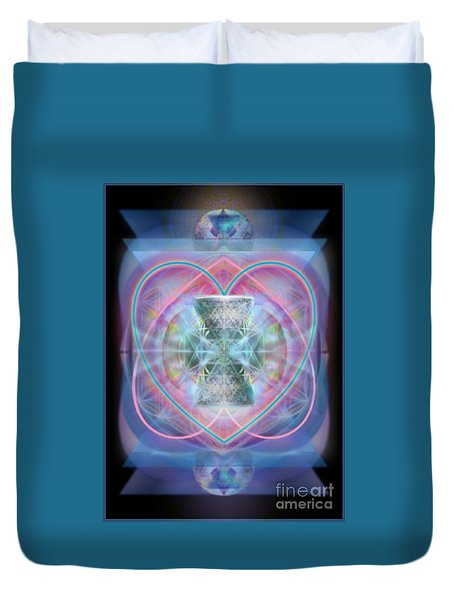 Duvet Cover featuring the digital art Intwined Hearts Chalice Wings Of Vortexes Radiant Deep Synthesis by Christopher Pringer