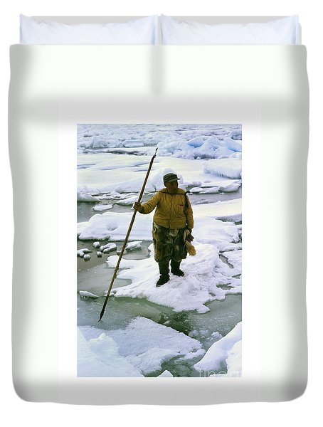 Duvet Cover featuring the photograph Inuit Seal Hunter Barrow Alaska July 1969 by California Views Mr Pat Hathaway Archives