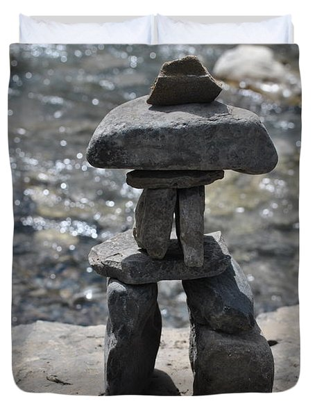 Inukshuk By The Water Duvet Cover by Jim Hogg