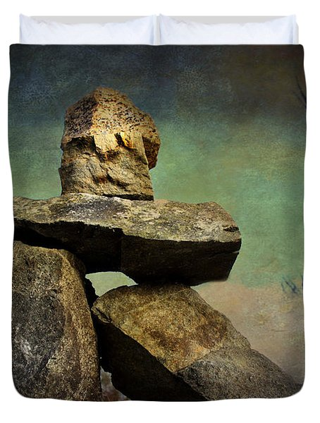 Inukshuk I Duvet Cover by Peggy Collins