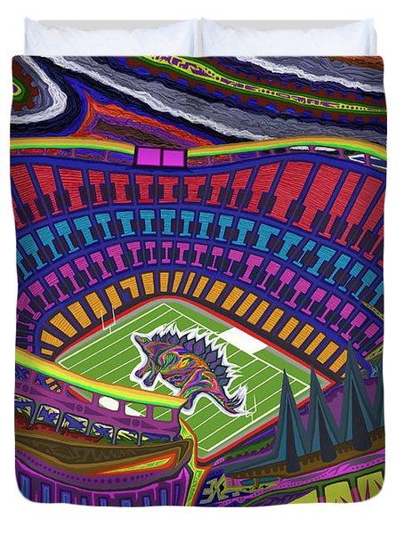 Invesco Field - Stegasaurus Stadium Duvet Cover by Robert SORENSEN
