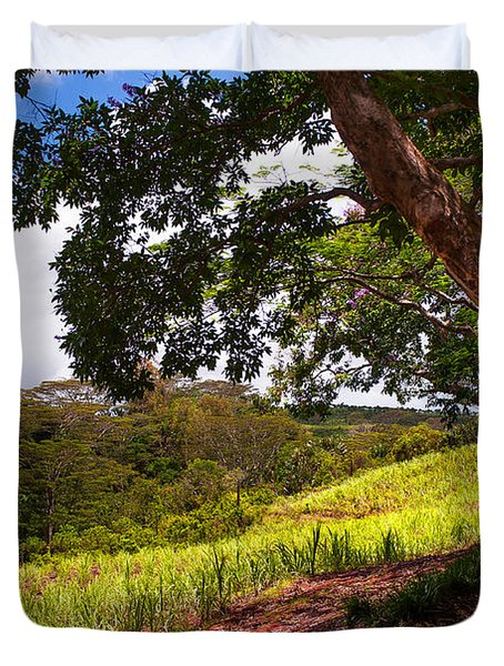 Invitation To Shadow Place. Chamarel. Mauritius Duvet Cover by Jenny Rainbow