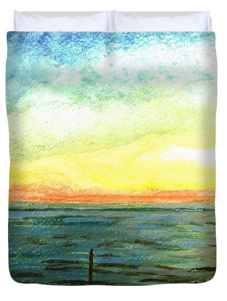 Duvet Cover featuring the painting Ionian Sea Zanti Greek Island by Teresa White