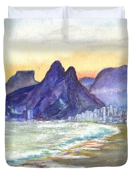 Sugarloaf Mountain And Ipanema Beach At Sunset Rio Dejaneiro  Brazil Duvet Cover