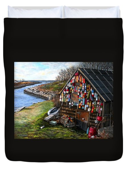 Ipswich Bay Wooden Buoys Duvet Cover by Eileen Patten Oliver