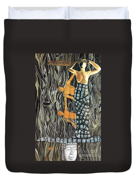 Duvet Cover featuring the painting I Q Stoped by Fei A